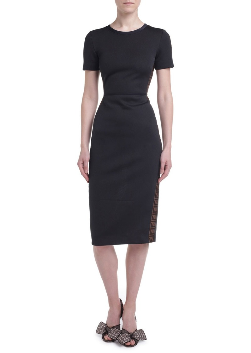 Fendi Logo-Taped Short-Sleeve Jersey Dress