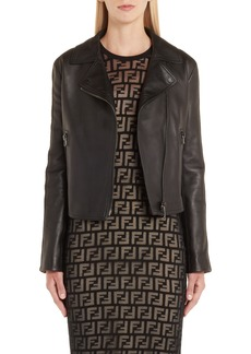 Fendi Logo Trim Leather Jacket