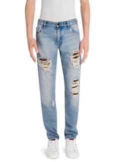 Fendi Logo Underlay Distressed Skinny-Fit Jeans