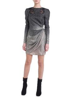 Fendi Long-Sleeve Floral Ombre Silk Mini Dress