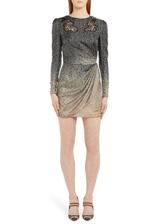 Fendi Long Sleeve Lace Inset Degradé Silk Minidress