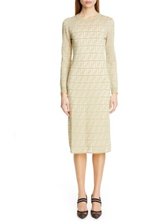 Fendi Long Sleeve Logo Jacquard Sweater Dress