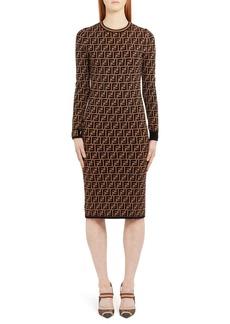 Fendi Long Sleeve Logo Jacquard Wool, Silk & Cashmere Sweater Dress