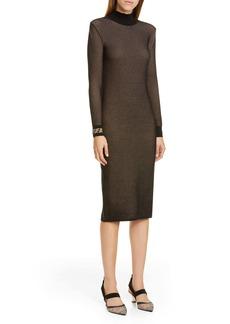 Fendi Long Sleeve Mesh Midi Sweater Dress