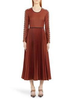 Fendi Long Sleeve Rope Trim Pleated Wool Blend Midi Dress