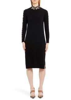 Fendi Long Sleeve Swirl Inset Cashmere Blend Sweater Dress