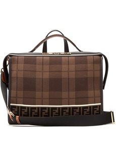 Fendi Lui logo-knit leather-trimmed messenger bag