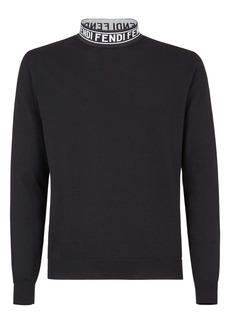 Fendi Lupetto Logo Tape Mock Neck Wool Blend Sweater