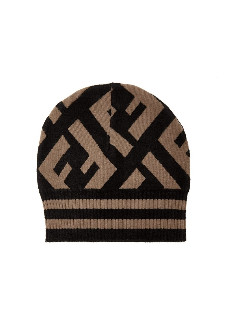f0798252eb6 Fendi Fendi Macro FF logo beanie hat