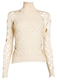 Fendi Mania Cage-Knit Turtleneck Sweater