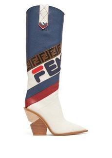 Fendi Mania leather knee-high boots