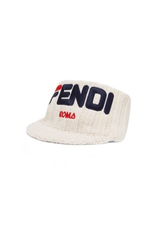 Fendi Mania Logo-embroidered knitted headband cap