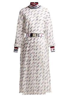 Fendi Mania logo-print silk-blend georgette dress