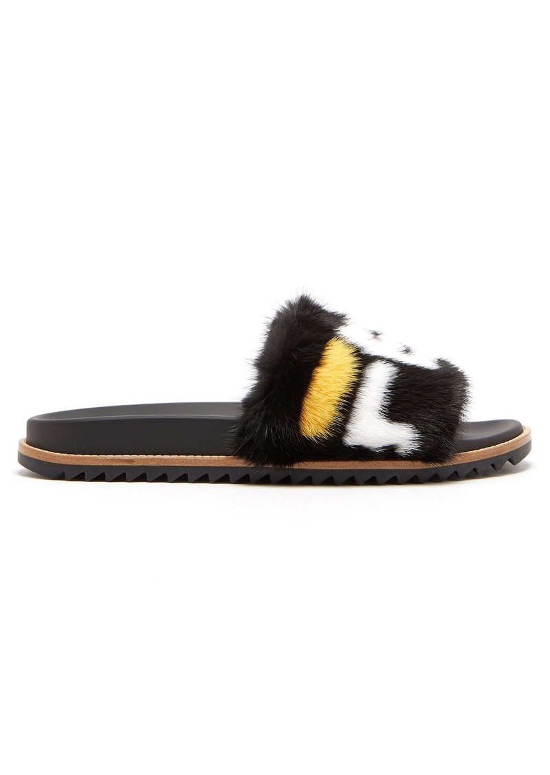 Fendi Mania mink and leather slides
