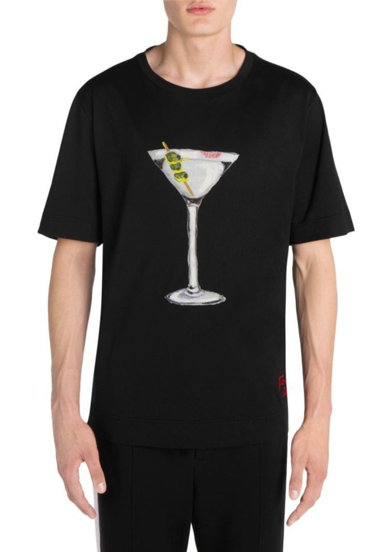 Fendi Martini Hand-Painted T-Shirt