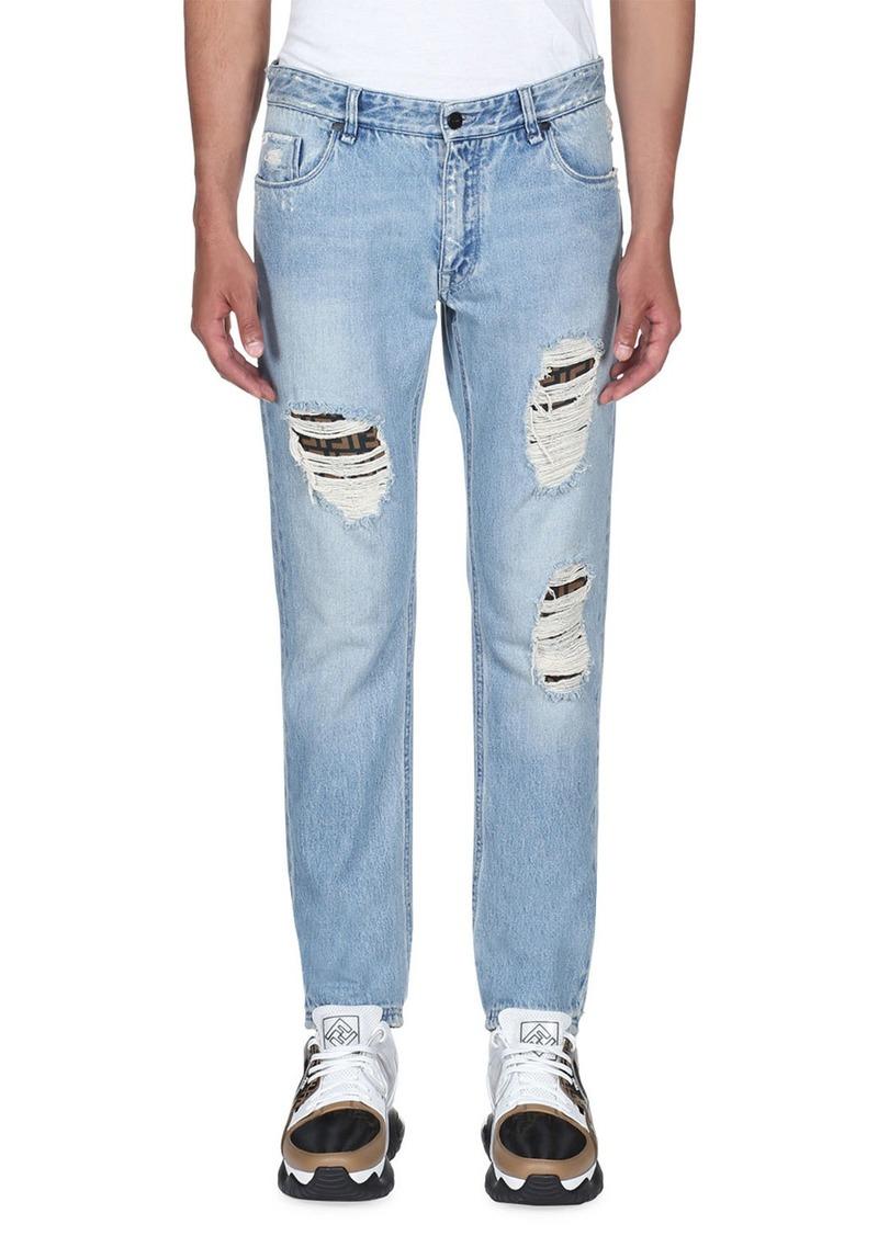 Fendi Men's Distress Logo-Patch Jeans