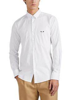 Fendi Men's Eye-Embroidered Cotton Poplin Shirt