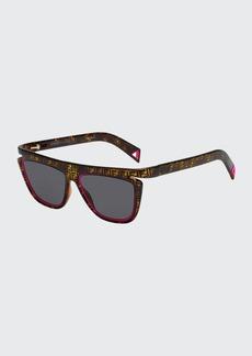 Fendi Men's FF Havana Fluorescent-Trim Sunglasses