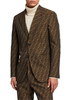 Fendi Men's FF Jacquard Two-Button Jacket