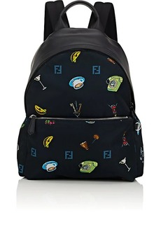 Fendi Men's Leather-Trimmed Classic Backpack