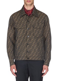 Fendi Men's Logo-Jacquard Denim Jacket