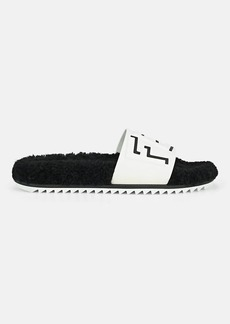 Fendi Men's Logo Shearling Slide Sandals