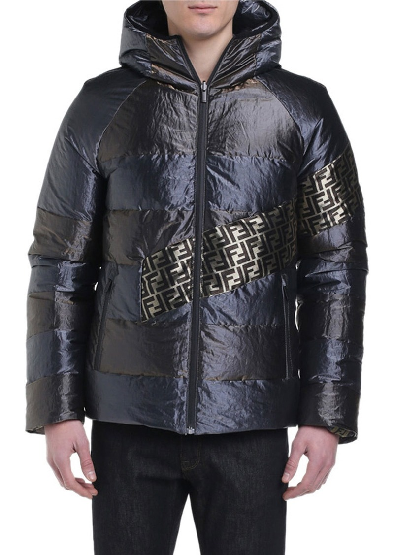 Fendi Men's Metallic Reversible Puffer Coat