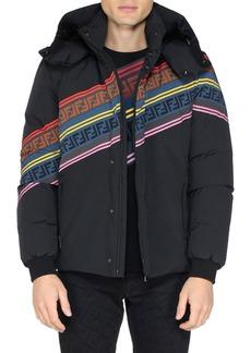 Fendi Men's Multicolor Retro Diagonal Stripe Ski Jacket