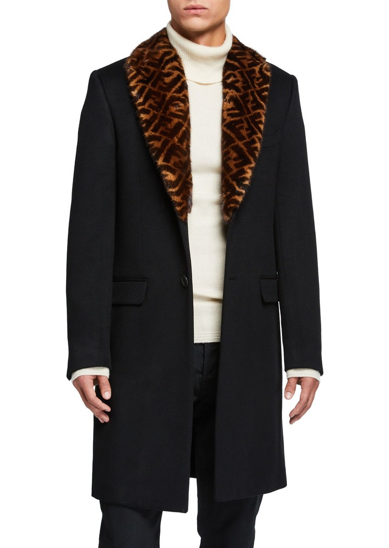 Fendi Men's Solid Overcoat w/ FF-Print Fur Collar
