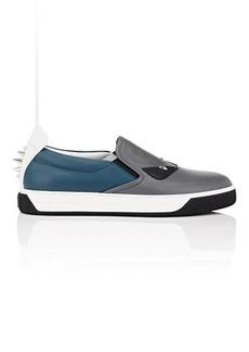 af9cbf9e125c Fendi Men s Spiked Bag Bugs Leather Slip-On Sneakers