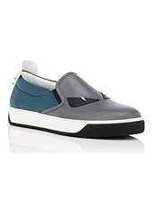 Fendi Men's Spiked Bag Bugs Leather Slip-On Sneakers