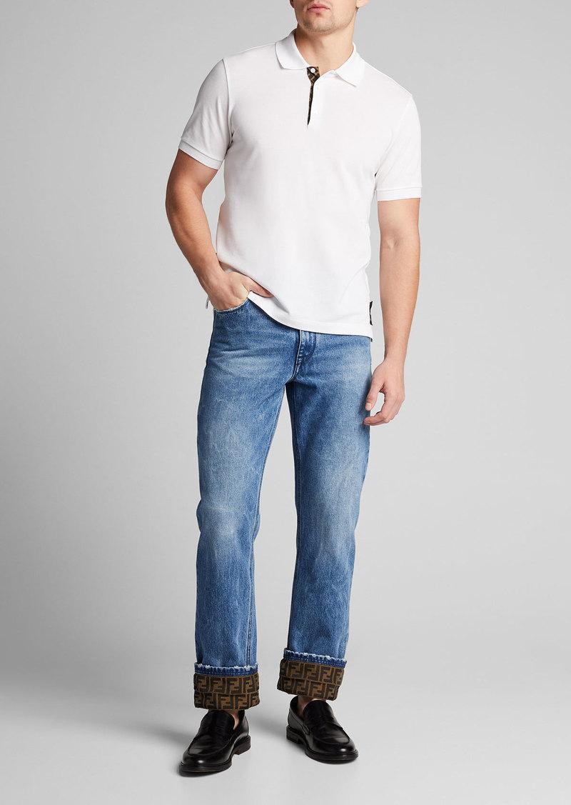 Fendi Men's Turn-Up FF-Cuff Straight-Leg Jeans