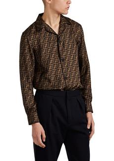 Fendi Men's Logo Silk Twill Shirt