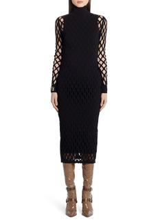 Fendi Mesh Long Sleeve Midi Dress