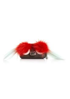 Fendi Micro Baguette fur-embellished cross-body bag