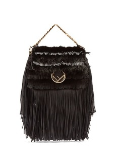 Fendi Micro Baguette mink-fur and leather cross-body bag