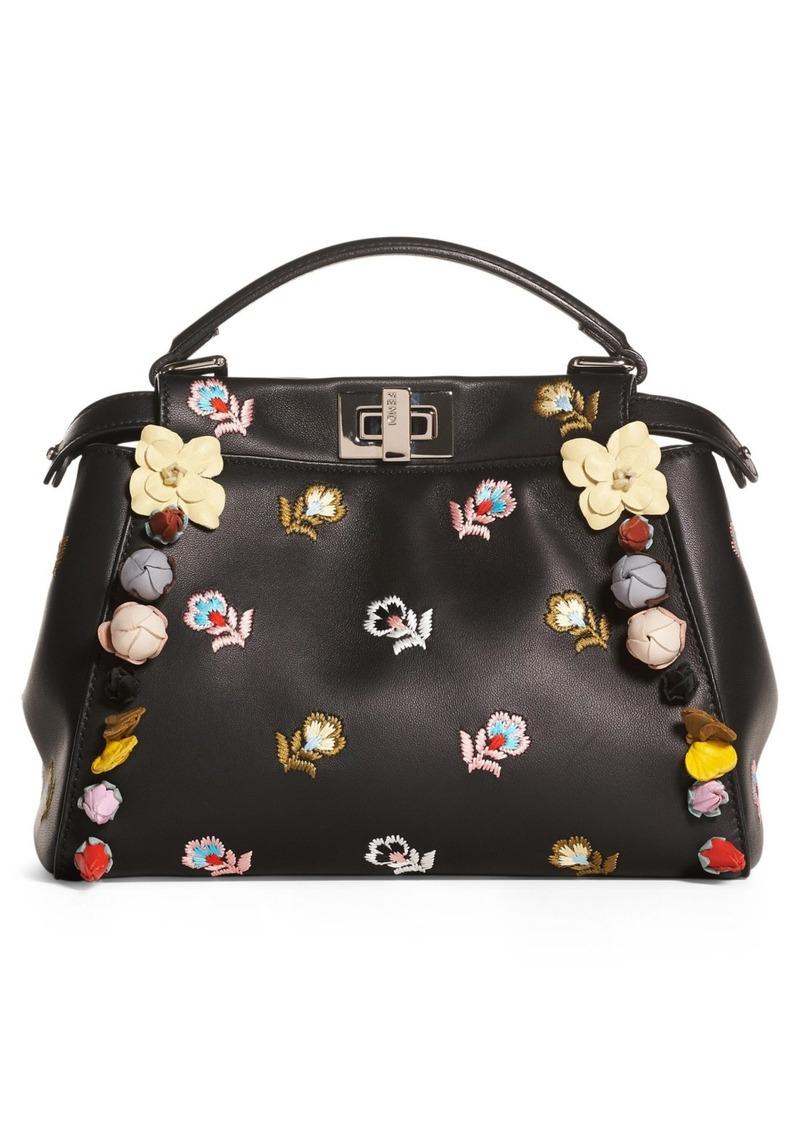 Fendi Fendi Mini Peekaboo Floral Appliqué Leather Satchel  b1db63b17f361