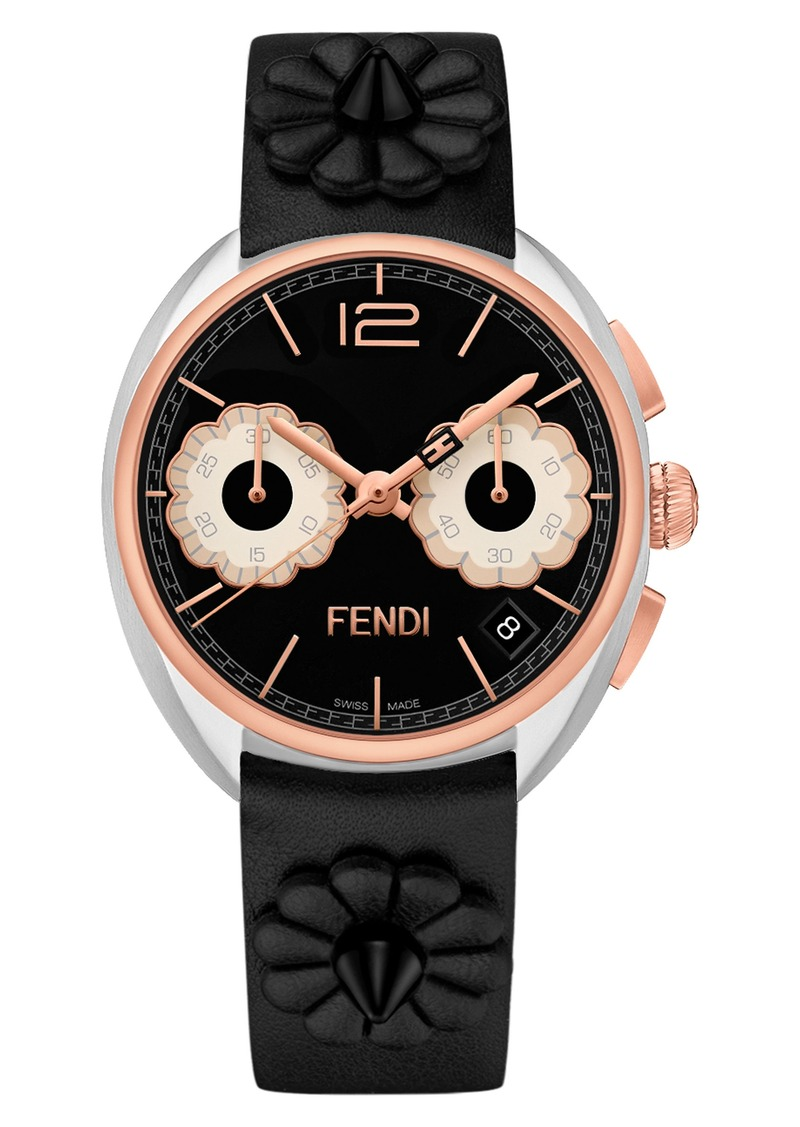 3cfa632b729c Fendi Fendi Momento Floral Chronograph Leather Strap Watch
