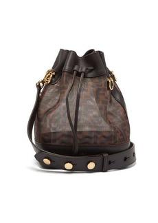 Fendi Mon Tresor FF-logo leather-trim bucket bag