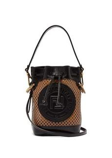 Fendi Mon Tresor mini FF perforated-leather bucket bag