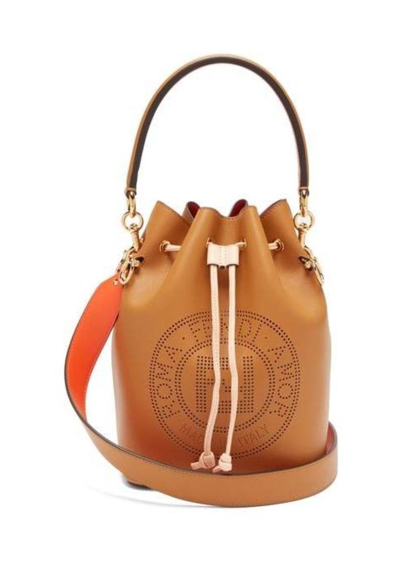 Fendi Mon Tresor perforated-logo leather bucket bag