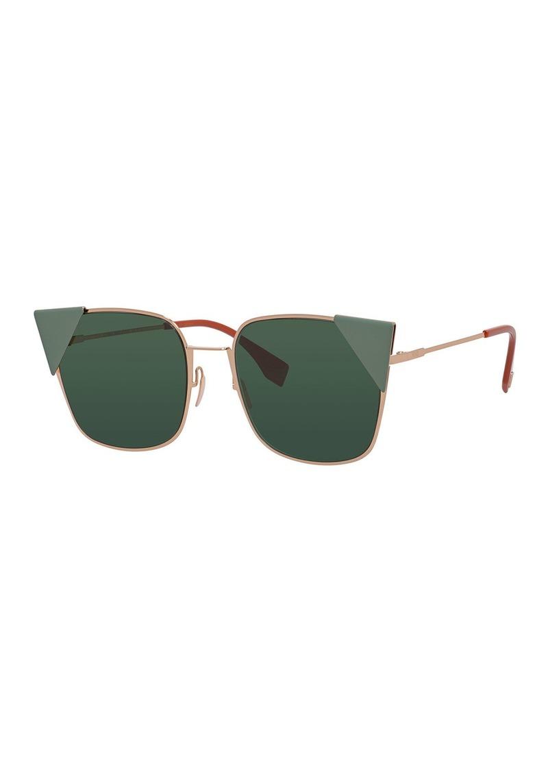 Fendi Monochromatic Square Sunglasses w/ Capped Frame Front