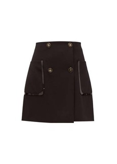 Fendi Monogram-button wool-twill mini skirt