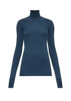 Fendi Monogram-embroidered ribbed wool-blend sweater