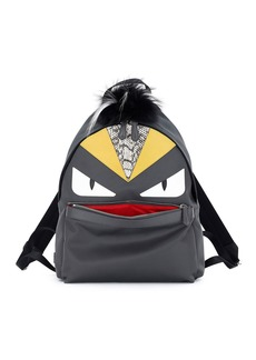 Fendi Monster Backpack w/Watersnake & Fur Details