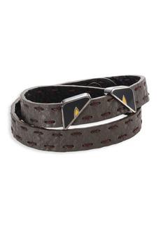 Fendi Monster Eyes Leather Wrap Around Bracelet