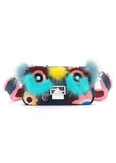 Fendi 'Monster' Genuine Shearling & Genuine Fox Fur Baguette