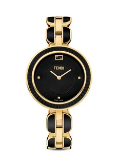 Fendi My Way Black Ceramic And Gold Tone Stainless Steel Watch with Fox Fur Glamy, 36mm