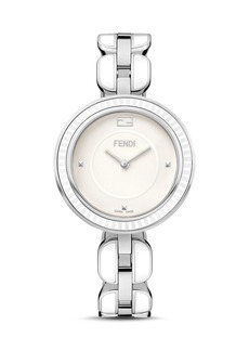 Fendi My Way Blue Ceramic And Stainless Steel Watch with Fox Fur Glamy, 36mm