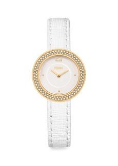 Fendi My Way Goldtone Stainless Steel & Diamond Leather-Strap Watch